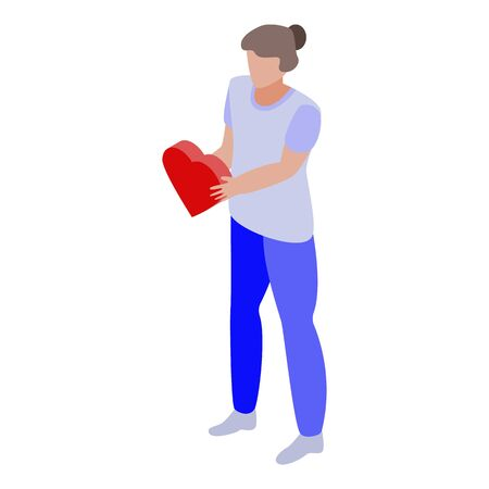 Volunteer keep love icon, isometric style