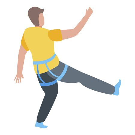 Man sport climbing icon, isometric style