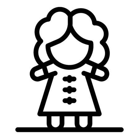 Girl doll icon, outline style