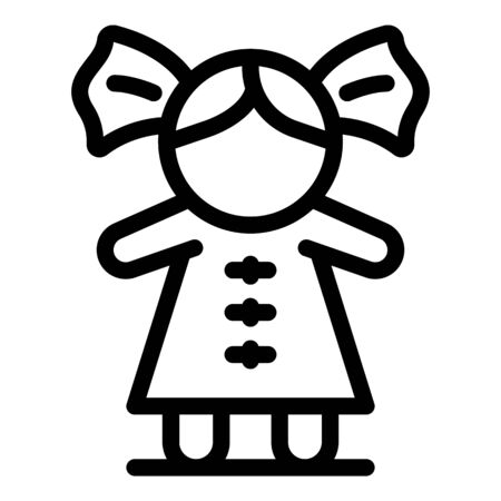 Game doll icon. Outline game doll vector icon for web design isolated on white background