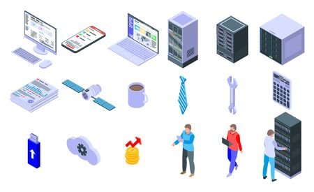 IT administrator icons set. Isometric set of IT administrator vector icons for web design isolated on white background