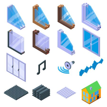 Soundproofing icons set. Isometric set of soundproofing vector icons for web design isolated on white background Vettoriali