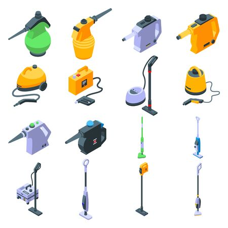 Steam cleaner icons set, isometric style