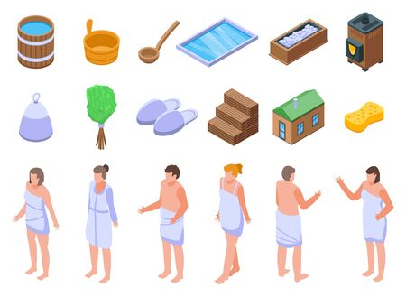 Sauna icons set, isometric style Stock Illustratie