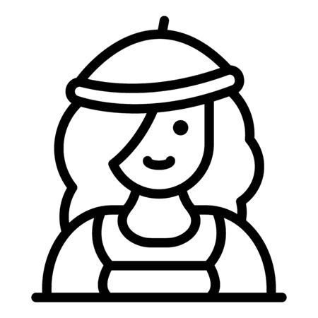 French cute woman icon, outline style