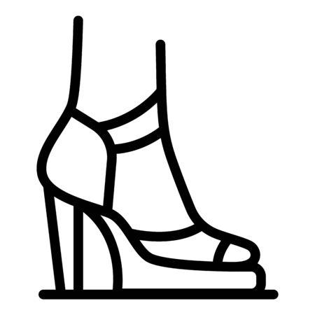 French woman shoes icon, outline style Ilustración de vector