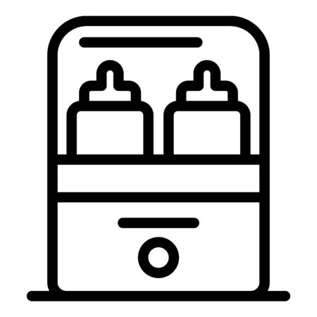 Sterillize bottle heater icon, outline style 向量圖像