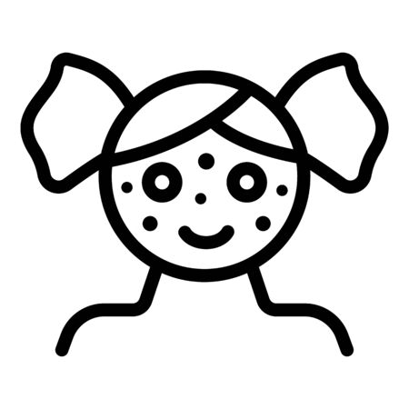 Girl chicken pox icon, outline style