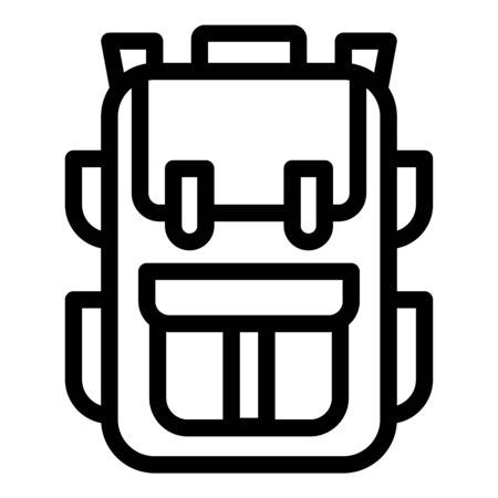 Travel backpack icon. Outline travel backpack vector icon for web design isolated on white background