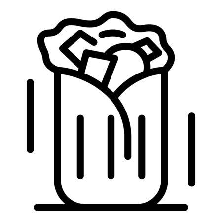Shawarma sandwich icon, outline style