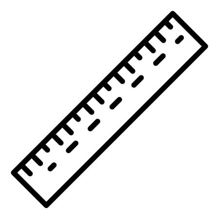 School ruler icon. Outline school ruler vector icon for web design isolated on white background Векторная Иллюстрация