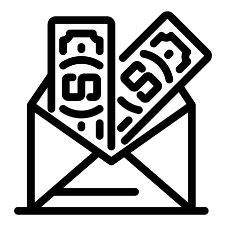 Money from an envelope icon, outline style