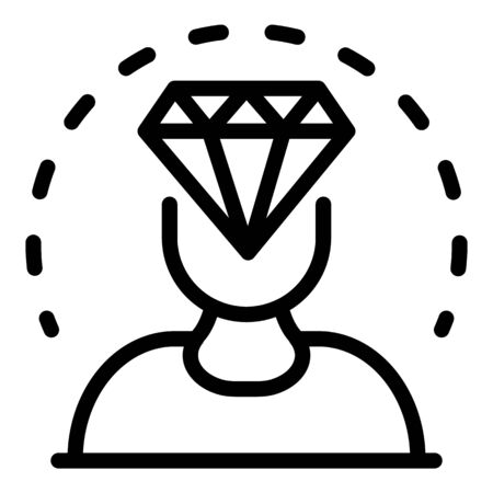 Diamond in the head icon, outline style