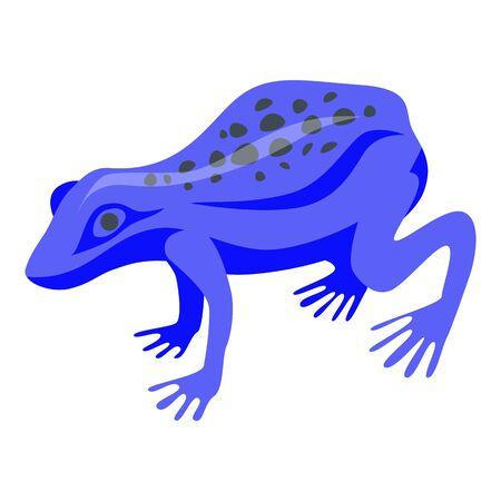 Blue exotic frog icon, isometric style
