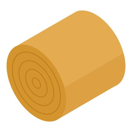 Cow roll food icon. Isometric of cow roll food vector icon for web design isolated on white background  イラスト・ベクター素材