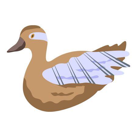 Canard duck icon, isometric style 向量圖像