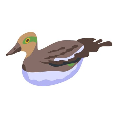 Feathers duck icon, isometric style 向量圖像