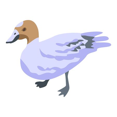 Cute duck icon, isometric style