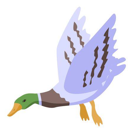 Flying wild duck icon, isometric style 向量圖像