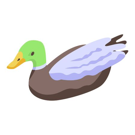 Cute wild duck icon, isometric style