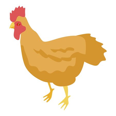 Golden rooster icon. Isometric of golden rooster vector icon for web design isolated on white background Ilustracja