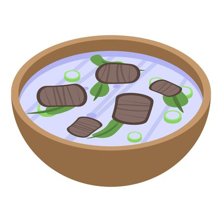 Thai dinner soup icon, isometric style Vettoriali