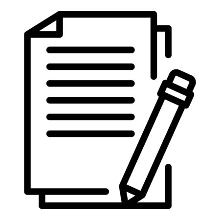 Pen training paper icon, outline style