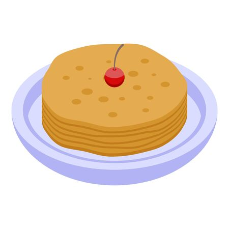 Pancake icon, isometric style