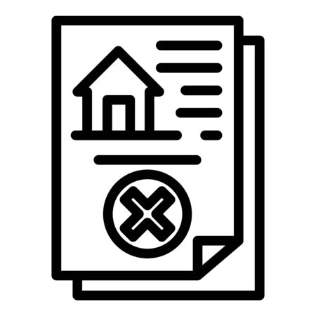 Demolition house document icon, outline style