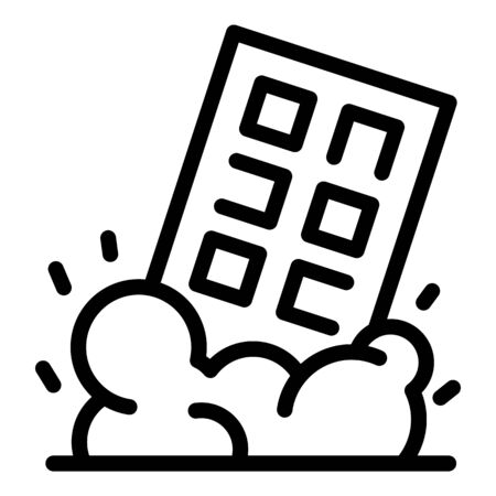Demolition house icon, outline style