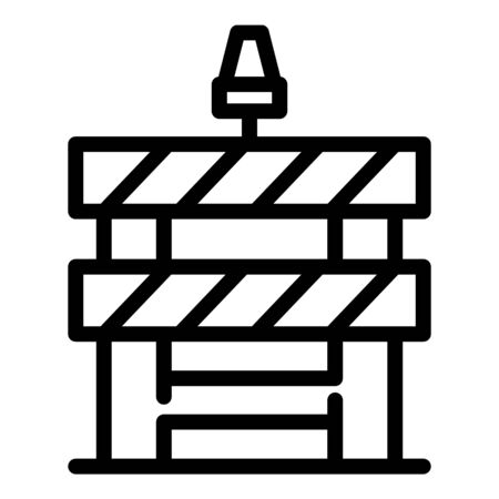 Road block barrier icon. Outline road block barrier vector icon for web design isolated on white background