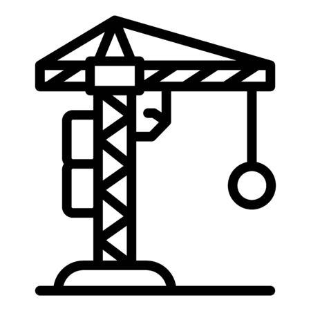 Demolition construction crane icon, outline style