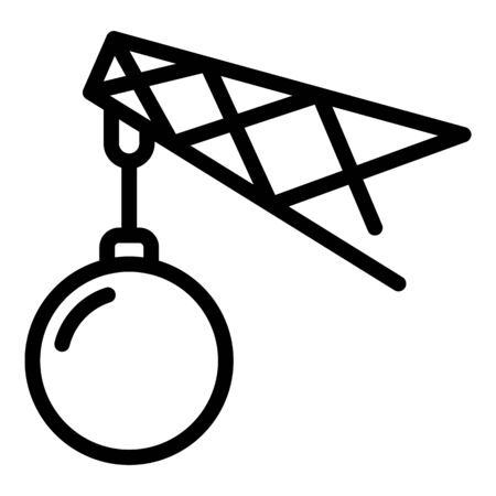 Steel wrecking ball icon, outline style