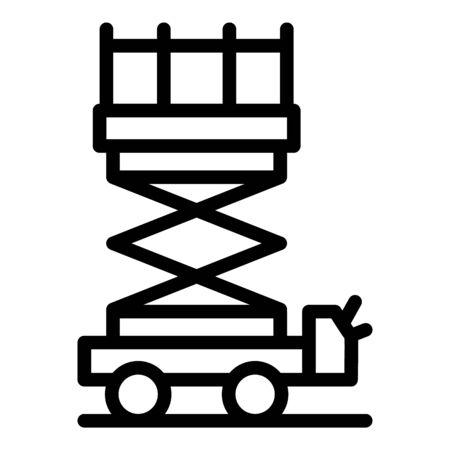 Demolition lift platform icon, outline style