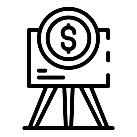Flipchart and dollar sign icon, outline style
