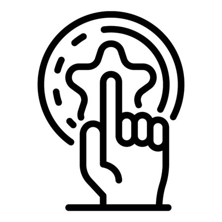 Finger and star icon, outline style