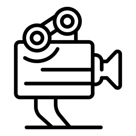 Movie camera icon, outline style Illustration