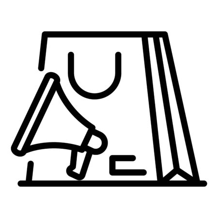 Megaphone and shopping bag icon, outline style Stock Illustratie