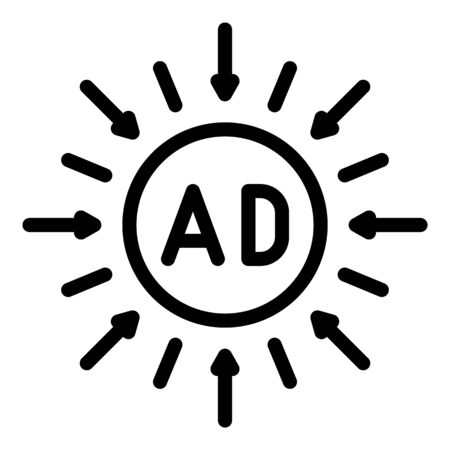 Ad in a circle and arrows icon, outline style