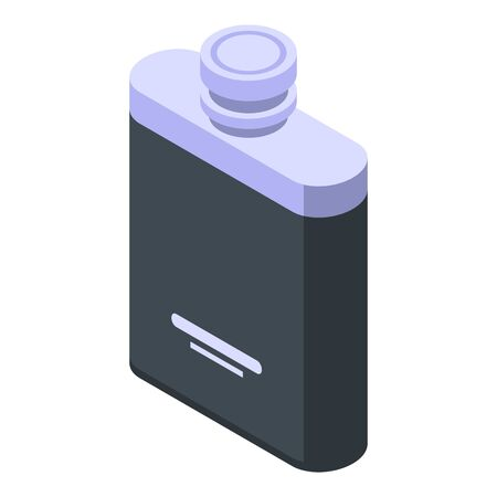 Hip flask icon. Isometric of hip flask vector icon for web design isolated on white background Çizim