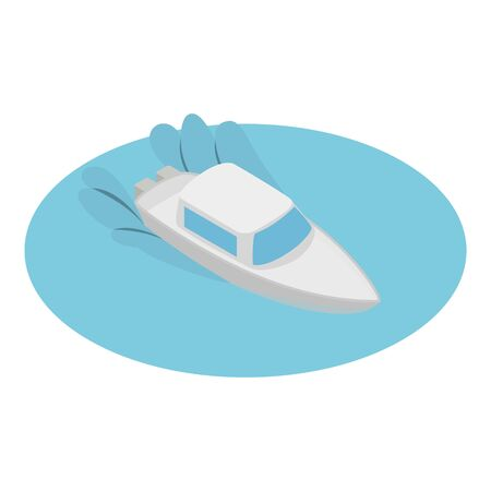 Yacht icon. Isometric illustration of yacht vector icon for web