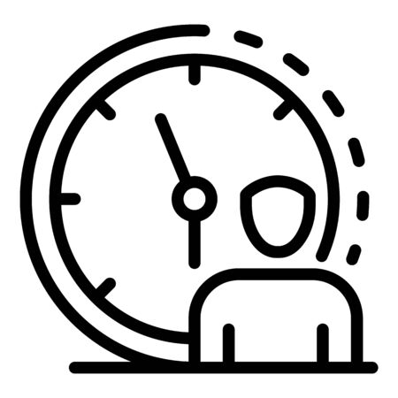 Manager wall clock icon. Outline manager wall clock vector icon for web design isolated on white background