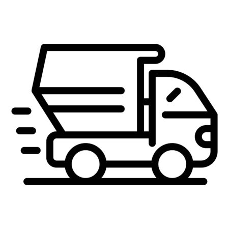 Dump truck icon. Outline dump truck vector icon for web design isolated on white background Illustration