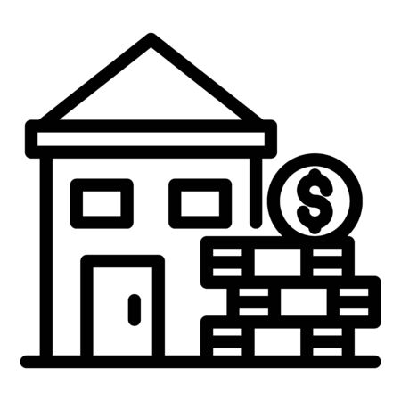 House and a stack of money icon, outline style Vektorové ilustrace