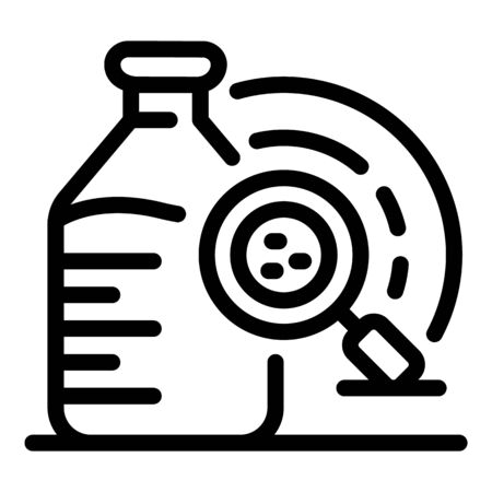 A bottle and magnifier icon. Outline a bottle and magnifier vector icon for web design isolated on white background Ilustracja