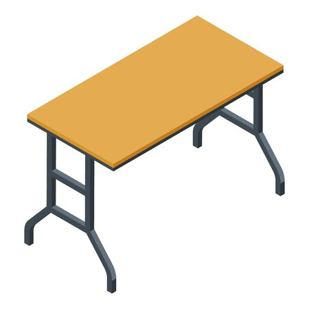 Folding outdoor table icon, isometric style