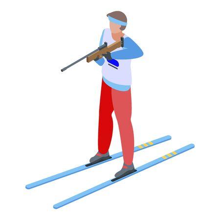 Biathlon shooting icon, isometric style