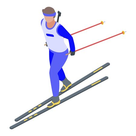 Ski biathlon icon. Isometric of ski biathlon vector icon for web design isolated on white background