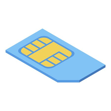 Cellphone sim card icon, isometric style