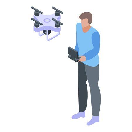 Video drone cameraman icon, isometric style Vektorové ilustrace